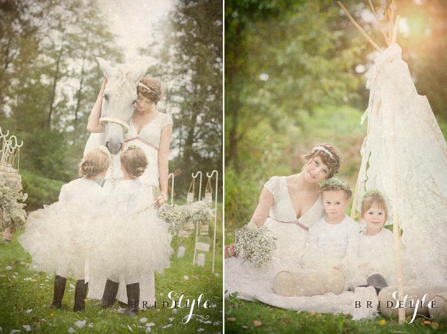 Bohemian Lace wedding session - wedding headband www.WhiteJasmine.pl