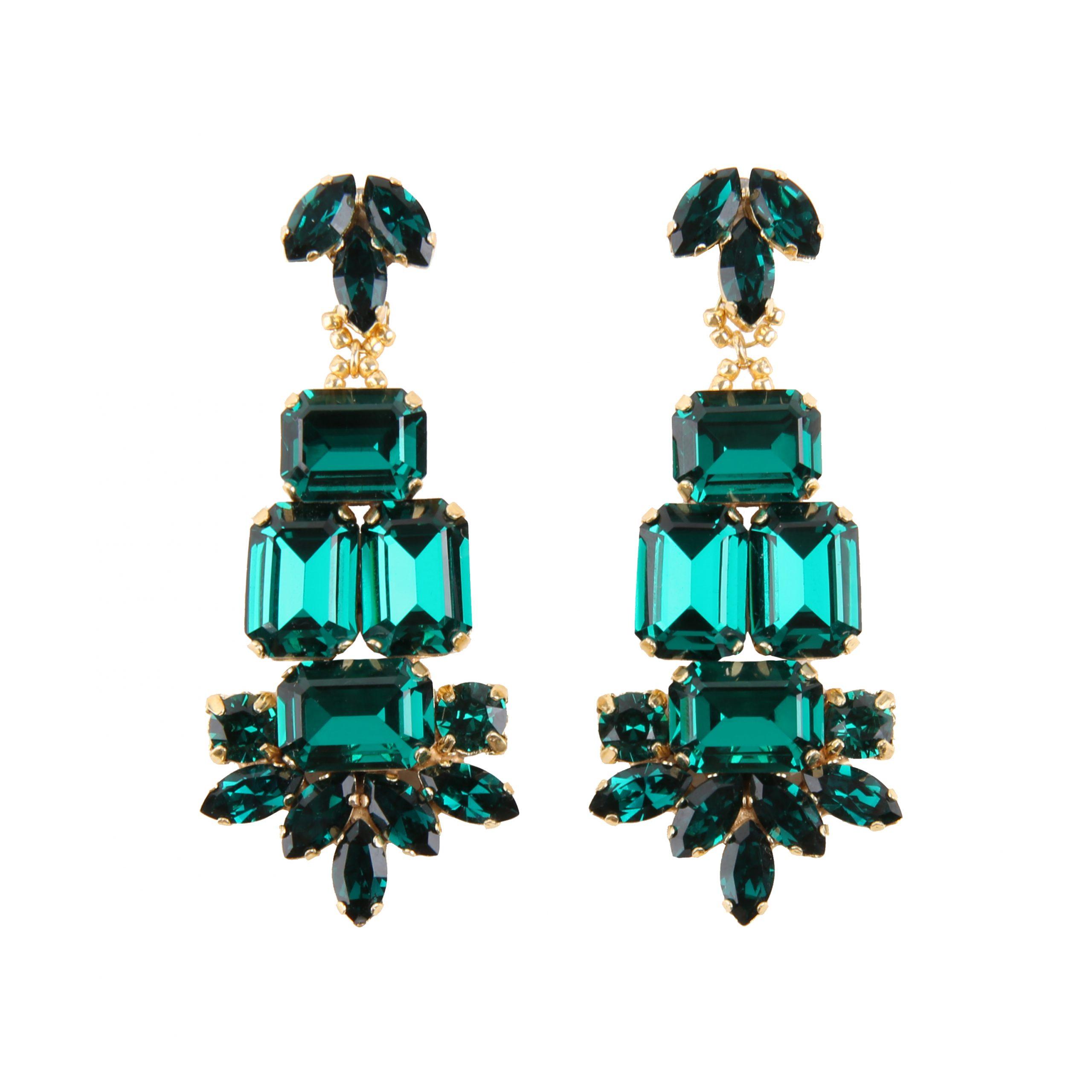 Kolczyki MAIO large emerald