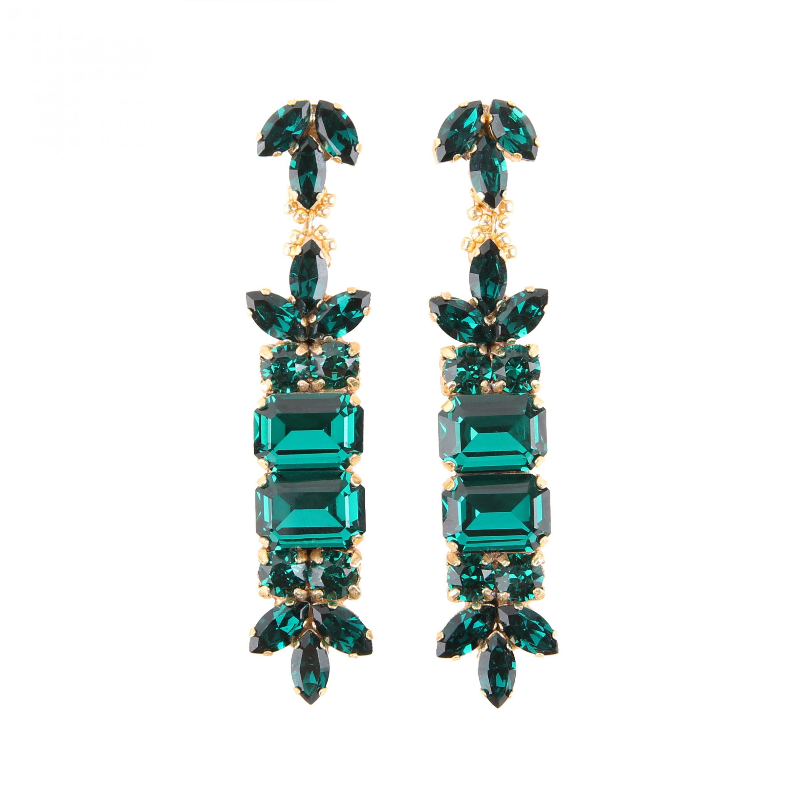 Kolczyki MAIO long emerald